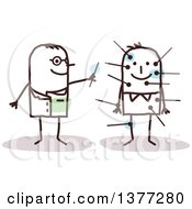 Clipart Of A Stick Man Acupuncturist With A Patient Royalty Free Vector Illustration