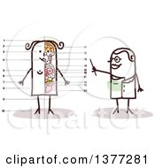 Clipart Of A Female Stick Doctor Discussing The Anatomy Of A Womans Body Royalty Free Vector Illustration