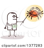 Clipart Of A Male Stick Doctor Discussing Cancer Royalty Free Vector Illustration