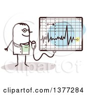 Clipart Of A Male Stick Doctor Discussing An Electrocardiogram Royalty Free Vector Illustration