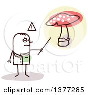 Clipart Of A Male Stick Doctor Discussing A Poisonous Mushroom Royalty Free Vector Illustration