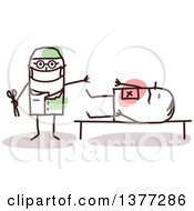 Clipart Of A Male Stick Doctor Surgeon Operating On A Patient Royalty Free Vector Illustration
