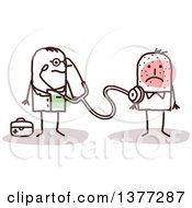 Clipart Of A Male Stick Doctor Examining A Sick Patient Royalty Free Vector Illustration