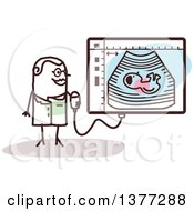 Clipart Of A Female Stick Doctor By An Ultrasound Screen Royalty Free Vector Illustration