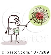 Clipart Of A Male Stick Doctor Wearing A Mask And Discussing The H1N1 Virus Royalty Free Vector Illustration