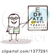 Clipart Of A Male Stick Eye Doctor By A Chart Royalty Free Vector Illustration by NL shop
