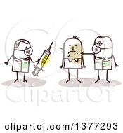 Clipart Of Stick Male Doctors Treating A Contagious Man With A Vaccine Royalty Free Vector Illustration