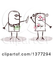 Clipart Of A Stick Male Plastic Surgeon Doctor Drawing On A Female Patient Royalty Free Vector Illustration