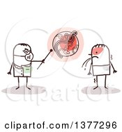 Clipart Of A Stick Male Doctor Talking To An Ebola Virus Patient Royalty Free Vector Illustration