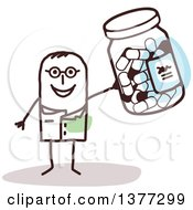 Clipart Of A Stick Male Doctor Or Pharmacist Holding Up A Pill Bottle Royalty Free Vector Illustration