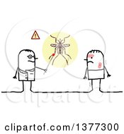 Poster, Art Print Of Stick Male Doctor Talking To A Patient With Dengue Fever