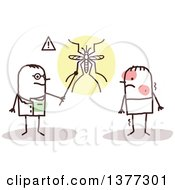 Clipart Of A Stick Male Doctor Talking To A Patient With Dengue Fever Royalty Free Vector Illustration
