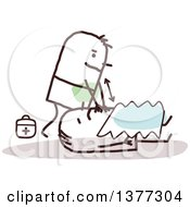 Clipart Of A Stick Male Paramedic Working On A Patient Royalty Free Vector Illustration by NL shop