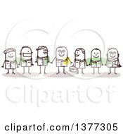 Clipart Of Team Of Stick Doctors Royalty Free Vector Illustration