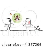 Clipart Of A Stick Male Doctor Discussing Ticks With A Male Lyme Disease Patient And Dog Royalty Free Vector Illustration