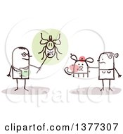 Clipart Of A Stick Male Doctor Or Veterinarian Discussing Ticks With A Woman And Her Dog Royalty Free Vector Illustration