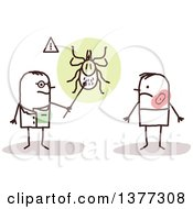 Clipart Of A Stick Male Doctor Discussing Ticks With A Lyme Disease Patient Royalty Free Vector Illustration
