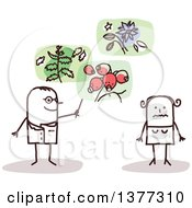 Clipart Of A Stick Male Doctor Discussing Plants For Treatment With A Female Patient Royalty Free Vector Illustration