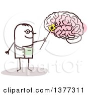 Clipart Of A Stick Male Doctor Discussing The Brain Royalty Free Vector Illustration