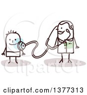 Clipart Of A Stick Female Pediatric Doctor With A Boy Patient Royalty Free Vector Illustration by NL shop