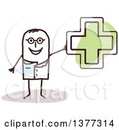 Clipart Of A Stick Male Naturopathic Doctor Holding A Green Cross Royalty Free Vector Illustration