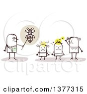 Stick Male Doctor Discussing Head Lice With A Family