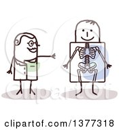 Clipart Of A Stick Female Radiologist Doctor Discussing An X Ray With A Patient Royalty Free Vector Illustration