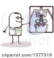 Clipart Of A Stick Male Radiologist Doctor Discussing An X Ray Royalty Free Vector Illustration