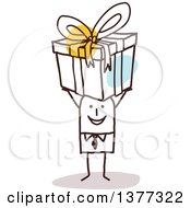 Clipart Of A Stick Business Man Holding A Gift Over His Head Royalty Free Vector Illustration by NL shop