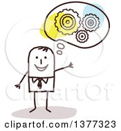 Clipart Of A Creative Stick Business Man With An Idea Royalty Free Vector Illustration