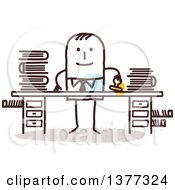 Clipart Of A Stick Business Man Stamping Documents At A Desk Royalty Free Vector Illustration