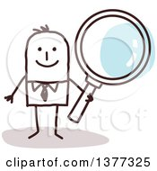 Clipart Of A Stick Business Man Holding A Magnifying Glass Royalty Free Vector Illustration