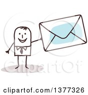 Clipart Of A Stick Business Man Holding An Envelope Royalty Free Vector Illustration