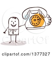 Clipart Of A Stick Business Man Holding A Landline Telephone Royalty Free Vector Illustration