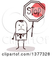Clipart Of A Sad Stick Business Man Holding A Stop Sign Royalty Free Vector Illustration
