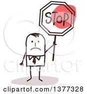 Poster, Art Print Of Sad Stick Business Man Holding A Stop Sign