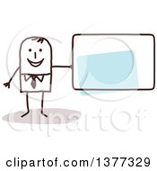 Clipart Of A Stick Business Man Holding A Blank Sign Royalty Free Vector Illustration