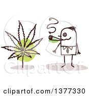 Clipart Of A Stick Business Man Smoking Pot Royalty Free Vector Illustration