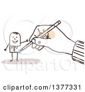 Clipart Of A Hand Drawing A Stick Business Man Royalty Free Vector Illustration