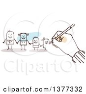 Clipart Of A Hand Drawing A Stick Business Man And His Family Royalty Free Vector Illustration