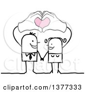 Clipart Of A Stick Business Man And His Wife Holding Their Hands Above Their Heads Forming Hearts Royalty Free Vector Illustration by NL shop