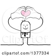 Clipart Of A Stick Business Man Forming A Heart With His Hands Above His Head Royalty Free Vector Illustration