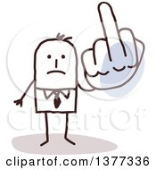 Clipart Of A Stick Business Man Holding Up A Middle Finger On A Big Hand Royalty Free Vector Illustration