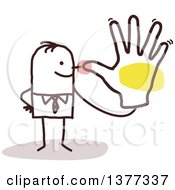 Clipart Of A Stick Business Man Teasing Holding His Hand Up To His Nose Royalty Free Vector Illustration