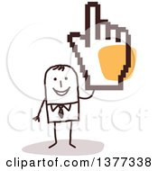 Clipart Of A Stick Business Man Holding Up A Big Cursor Hand Royalty Free Vector Illustration