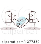 Clipart Of A Stick Business Man Shaking Big Hands With A Client Royalty Free Vector Illustration
