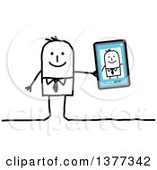Clipart Of A Stick Business Man Showing A Selfie Picture On A Smart Phone Or Tablet Royalty Free Vector Illustration