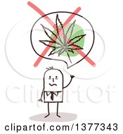 Clipart Of A Stick Business Man Waving Under A No Marijuana Leaf Symbol Royalty Free Vector Illustration