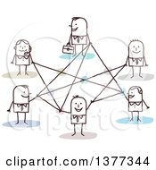 Clipart Of A Stick Business People Connected In A Network Royalty Free Vector Illustration