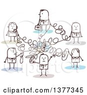 Clipart Of A Stick Business People Connected In A Messy Network Royalty Free Vector Illustration